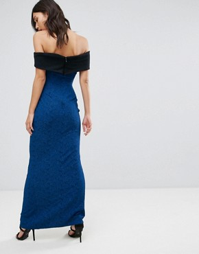 photo Bardot Maxi Dress with Contrast Band by Vesper, color Blue - Image 2