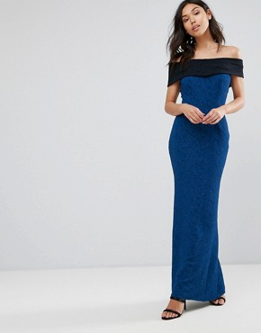 photo Bardot Maxi Dress with Contrast Band by Vesper, color Blue - Image 1