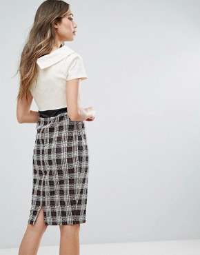 photo 2 in 1 Pencil Dress with Checked Skirt by Vesper, color Ivory Check - Image 2