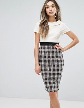 photo 2 in 1 Pencil Dress with Checked Skirt by Vesper, color Ivory Check - Image 1