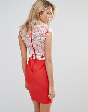 photo Pencil Dress with Lace Upper by Vesper, color Pink Red - Image 2