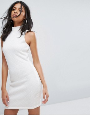 photo High Neck Quilted Dress in White by Adidas Originals, color White - Image 2
