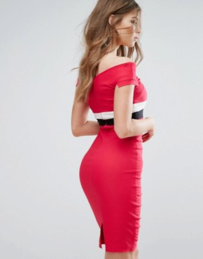 photo Off Shoulder Pencil Midi Dress with Contrast Waistband by Vesper, color Pink - Image 2