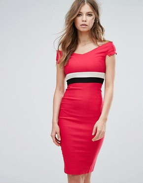 photo Off Shoulder Pencil Midi Dress with Contrast Waistband by Vesper, color Pink - Image 1