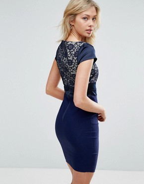 photo Pencil Dress with Lace Panel by Vesper, color Navy - Image 2