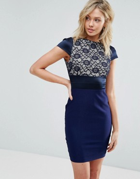 photo Pencil Dress with Lace Panel by Vesper, color Navy - Image 1