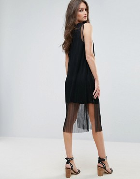 photo Mesh Overlay Dress by Vero Moda, color Black - Image 2