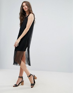 photo Mesh Overlay Dress by Vero Moda, color Black - Image 1