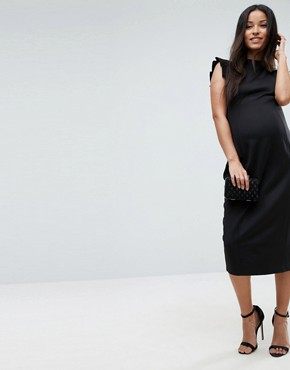 photo Pencil Dress with Cut out Back and Shoulder Detail by ASOS Maternity, color Black - Image 2