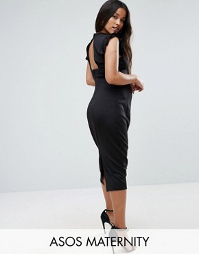 photo Pencil Dress with Cut out Back and Shoulder Detail by ASOS Maternity, color Black - Image 1