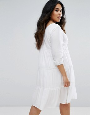 photo Long Sleeve Dress with Ruffle Detail Skirt by Diya, color White - Image 2