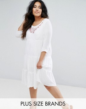 photo Long Sleeve Dress with Ruffle Detail Skirt by Diya, color White - Image 1