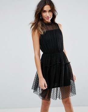 photo Dobby Skater Mini Dress with Strap Back by ASOS, color Black - Image 1