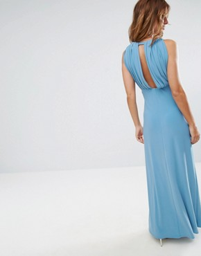 photo Pleat Back Wrap Front Maxi Dress by ASOS, color Duck Egg - Image 2