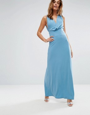 photo Pleat Back Wrap Front Maxi Dress by ASOS, color Duck Egg - Image 1