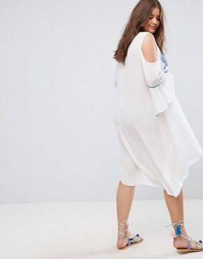 photo Cold Shoulder Tunic Dress with Embroidery by Diya, color White - Image 2