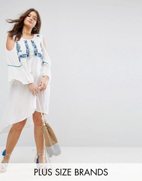 photo Cold Shoulder Tunic Dress with Embroidery by Diya, color White - Image 1