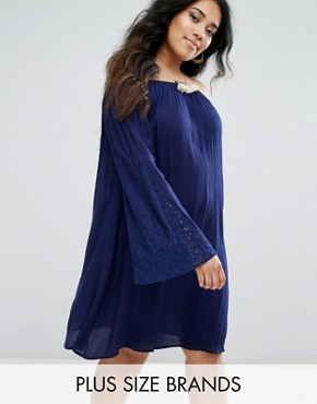 photo Blossom Tunic with Flared Sleeves by Diya, color Navy - Image 1