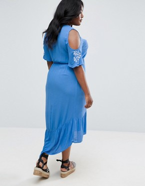 photo Cold Shoulder Maxi Dress with Sleeve Embroidery by Diya, color Blue - Image 2