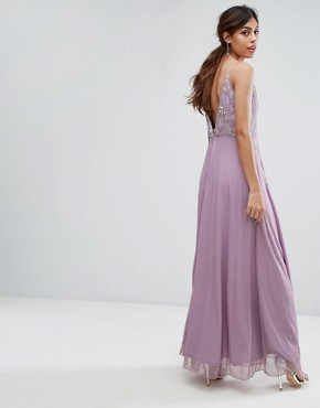 photo Cami Maxi Dress with Star Embellishment and Split by Frock and Frill, color Lavender - Image 2