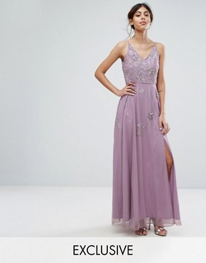 photo Cami Maxi Dress with Star Embellishment and Split by Frock and Frill, color Lavender - Image 1
