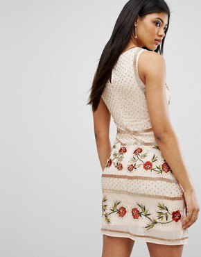 photo Floral Embellished Shift Dress by Frock and Frill, color Rose Dust - Image 2