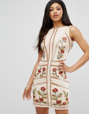 photo Floral Embellished Shift Dress by Frock and Frill, color Rose Dust - Image 1