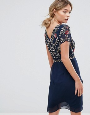photo Wrap Front Midi Dress with Embellishment by Frock and Frill, color Navy - Image 2