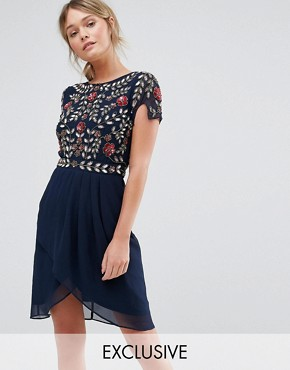 photo Wrap Front Midi Dress with Embellishment by Frock and Frill, color Navy - Image 1