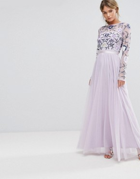 photo Embroided Maxi Dress with Tulle Skirt and Open Back by Frock and Frill, color Multi/Mink - Image 2