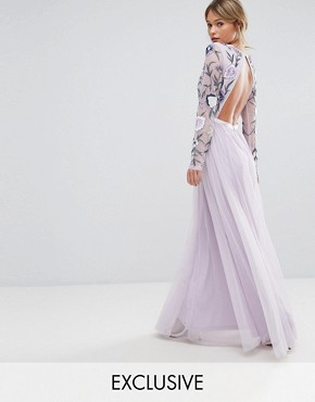 photo Embroided Maxi Dress with Tulle Skirt and Open Back by Frock and Frill, color Multi/Mink - Image 1