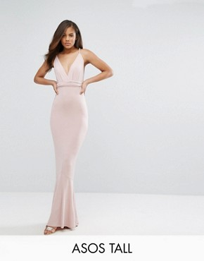 photo Slinky Deep Plunge Fishtail Plait Strap Maxi Dress by ASOS TALL, color Nude - Image 1