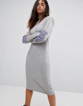 photo Long Sleeve Back Logo T-Shirt Dress by BACK by Ann Sofie Back, color Grey Mel - Image 1