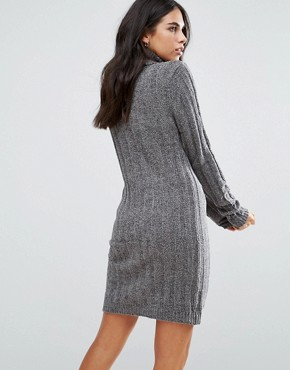 photo Perrie Roll Neck Jumper Dress by Brave Soul, color Charcoal - Image 2