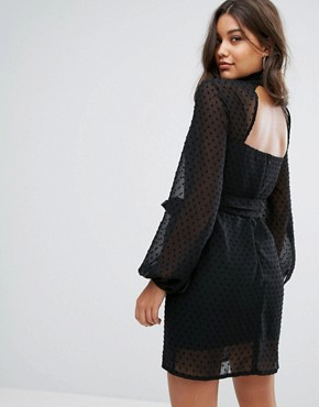 photo High Neck Mini Dress with Blouson Sleeve by Misha Collection, color Black - Image 2