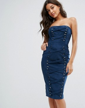 photo Bandeau Pencil Dress with Corset Lace Up Detail by Misha Collection, color Navy - Image 1