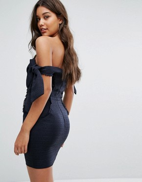 photo Boned Mini Dress with Tie Sleeves by Misha Collection, color Navy - Image 2