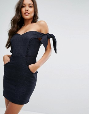 photo Boned Mini Dress with Tie Sleeves by Misha Collection, color Navy - Image 1