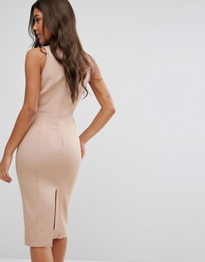 photo Pencil Dress with Lace Up Plunge by Misha Collection, color Warm Taupe - Image 2