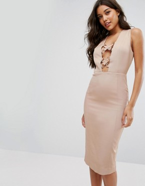 photo Pencil Dress with Lace Up Plunge by Misha Collection, color Warm Taupe - Image 1