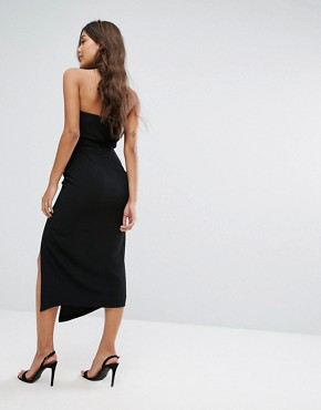photo Midi Dress with Cut Out Bust Cup Detail by Misha Collection, color Black - Image 2