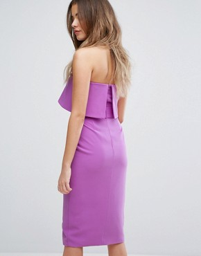 photo Bandeau Tie Midi Dress by Lavish Alice, color Bright Purple - Image 2