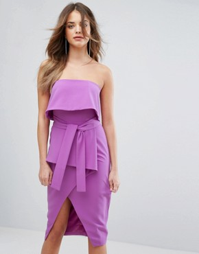 photo Bandeau Tie Midi Dress by Lavish Alice, color Bright Purple - Image 1