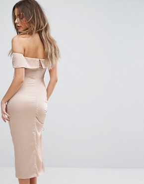 photo Satin Ruched One Shoulder Midi Dress by Lavish Alice, color Mink - Image 2