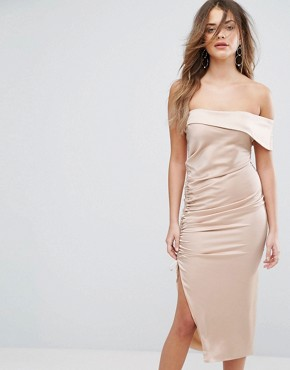 photo Satin Ruched One Shoulder Midi Dress by Lavish Alice, color Mink - Image 1