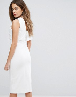 photo Asymmetric Midi Dress by Lavish Alice, color Off White - Image 2
