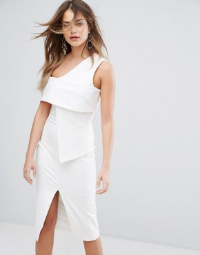 photo Asymmetric Midi Dress by Lavish Alice, color Off White - Image 1