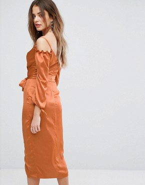 photo Rust Satin Bardot Tie Midi Dress by Lavish Alice, color Rust - Image 2