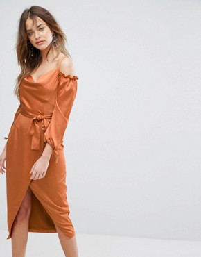 photo Rust Satin Bardot Tie Midi Dress by Lavish Alice, color Rust - Image 1