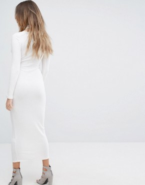 photo Ribbed Midi Dress with Hook & Eye Detail by Lavish Alice, color Cream - Image 2